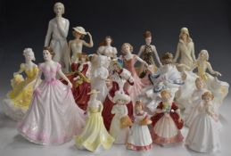 Eighteen Royal Doulton and Royal Worcester figurines