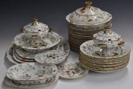 Approximately fifty five pieces of Victorian Davenport stoneware dinner ware including a pair of