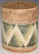 Troika circular lamp base with 'Troika Cornwall' to base,monogram indistinct, H15 x D12.5cm
