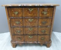 18thC Dutch marquetry inlaid serpentine fronted chest of four drawers with removable mirror,