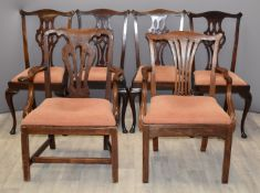 Six 19thC Chippendale style chairs including a set of four and two carvers