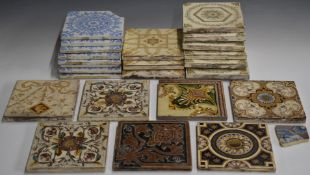 A collection of Victorian tiles including Minton, 15.5 x 15.5cm