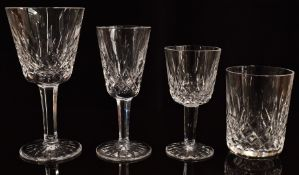 A suite of Waterford Crystal Lismore drinking glasses comprising five wine glasses, three port