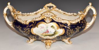 Coalport footed porcelain jardinière decorated with birds and flowers, W34 x D15 x 15cm