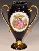 Limoges pedestal twin handled vase with Watteau scene and script 'Fragonard', H25cm