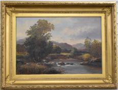 C Bates Victorian oil on canvas highland river with fisherman in the river and sheep grazing beyond,