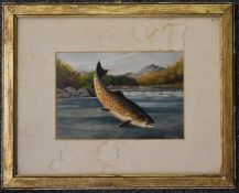 A. Roland Knight watercolour of a leaping fish caught on a line, with river landscape beyond, signed
