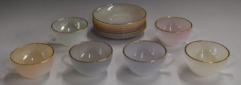 Retro / mid century modern Arcopal Opale harlequin tea set in presentation pack