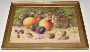 Harry Ayrton (Royal Worcester artist), watercolour still life of painted fruit, signed lower