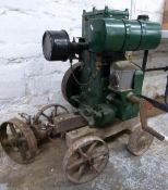 Lister D stationary engine on trolley with pump