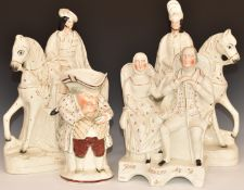 Staffordshire Toby taking snuff, pair of mounted Scottish riders and a Burns couple 'John