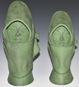 Two green ceramic busts in the Goldscheider style, tallest 25cm