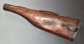 A vintage 'leg of mutton' leather gun case with brass lock, L78cm.