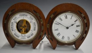 19th or early 20thC desk clock and barometer with horseshoe surrounds,W26cm