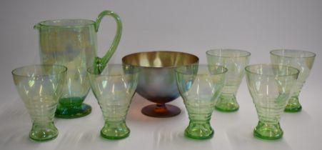 Art Deco iridescent green glass lemonade set comprising jug and six glasses together with a WMF