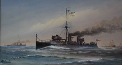 Harold Whitehead late 19th or early 20thC maritime watercolour 'H.M.S. Boxer', signed lower left,