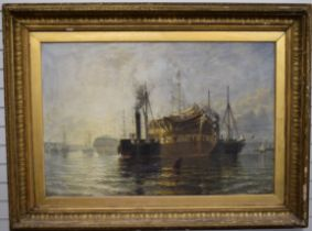 Henry Thomas Dawson (1841-1896) sailing ship being brought to a buoy by two paddle tugs in a busy