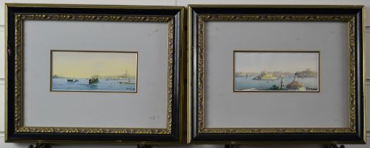G. Galia pair of watercolours of Valletta harbour, Malta, both signed lower right 7 x 15cm, in