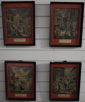 Four 18th/19thC engravings 'Times of the Day', each 34 x 25cm, in black painted frames