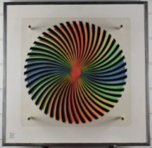 Pierre Nöel Martin modernist/retro Psychedelic Op-Art, signed lower left and with address verso,