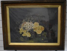Oil on canvas under glass still life of flowers, indistinctly signed lower right possibly M Kennick,