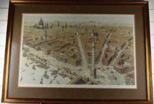 Paul Draper signed print Wren's London extensive cityscape, 54 x 85cm, in gilt frame