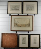 Georgian Gibraltar interest sketch and watercolour book containing approximately 30 studies, many