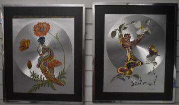 Pair of Michelle Emblem foil art pictures of fairies, 49 x 39cm