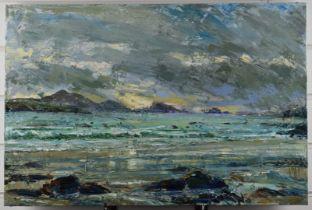 Alexa Davenport acrylic on canvas coastal St. Davids, South Wales, landscape 'Autumn Sea 05', 40 x