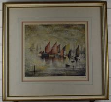 After Laurence Stephen Lowry RBA RA (1887-1976) Sailing Boats, signed limited edition (of 850)