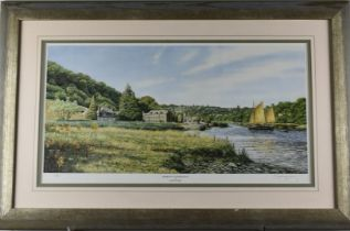 David Young signed limited edition (240/850) print Shamrock at Cotehele Quay, 33 x 62cm