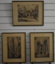 Nat Lowell (Latvian 1850-1956, emigrated to New York, USA) three signed engravings comprising New