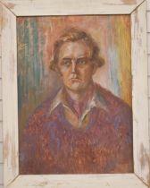 Oil on board portrait of a man, 73 x 53cm, in wooden frame
