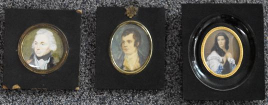 Three portrait miniatures, one depicting a sailor or similar, a further 19thC example and another