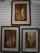 J Alphege Brewer, three etchings, two interior scenes of cathedrals including Seville and Toledo,