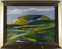 John Cleal (Welsh 1929-2007) abstract oil'Blue-green Landscape', signed lower left, 44 x 60cm, in