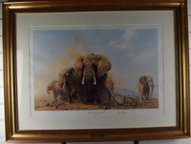 David Shepherd signed limited edition (39/185) print Elephants in the Tsavo National Park, 52 x