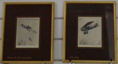 Two Howard Leigh signed etchings of WW1 era aircraft, 14 x 10.5cm, in gilt frames with names of