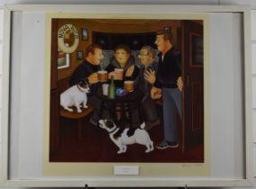 Beryl Cook signed print In The Snug, 46 x 46cm, in modern frame