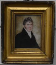 19thC portrait miniature on ivory of a gentleman in period period dress, 8.5 x 6.5cm, in moulded