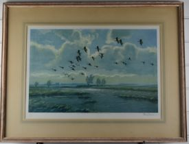 Peter Scott signed print 'Pink Feet in the Green Marshes' 39cm x 56cm, in limed wood frame, with