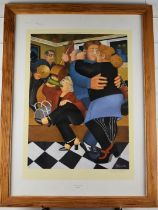 Beryl Cook signed print Shall We Dance, with gallery blind stamp lower left, 56 x 40cm, in modern