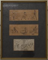 Alfred Munnings framed set of three sketches, the top two forming cartoon type strips, the lower