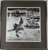 Peter Lyon signed limited edition (4/8) print Harrier Flight, bird in landscape, 44 x 44cm