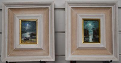 Nigel Hallard, FRSA (b1936) two oils on board of Cornish scenes, inscribed verso 'Harbour Entrance