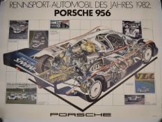Two linen backed Porsche racing car posters, one Welt Meister 1982, the other Porsche 956 1982, 83 x