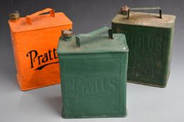 Three vintage two gallon petrol cans, comprising two Pratts both dated 1927 to base and an Anglo's