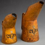 Two vintage National Benzole Company oil cans, pint and quart, tallest 27cm