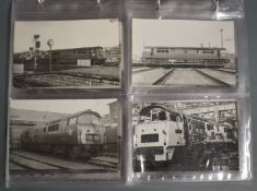 """Seventy four vintage black and white 6 x 4 inch photographs of British Rail class 52 """"Western"""""""