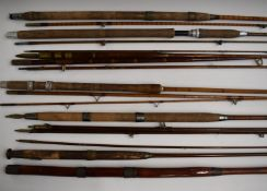 Collection of vintage cane/split cane fishing rods including Hardy, Sealey Octopus and Harry